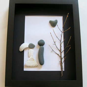 Pebble Art Wedding Gift - Unique Engagement Presents - Whimsical Couples Art - Gifts For Couple - Love Gifts - For Them - For Her - For Him