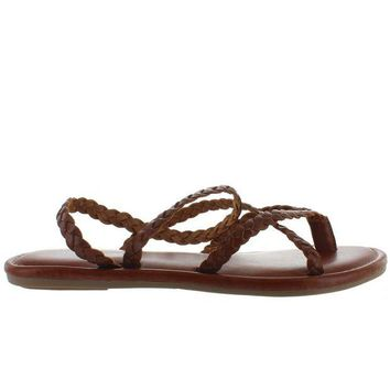 ONETOW MIA Braid - Brown Leather Strappy Flat Thong Sandal
