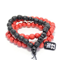 Black/Red Wood Skull Bracelet