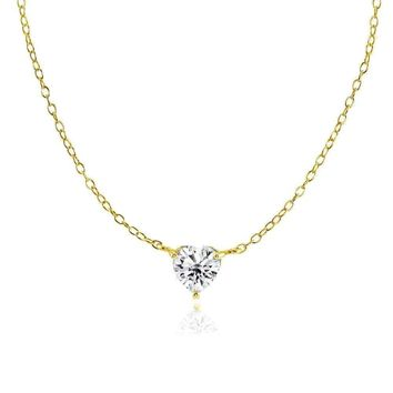 Dainty Cubic Zirconia Small Heart Choker Necklace in Gold Plated Sterling Silver