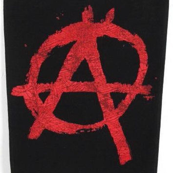 "Anarchy Back Patch - Red - 12"" (top) X 14"" (sides) X 11"" (bottom) Stiff Cotton."