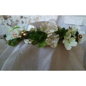 Shamrock St Patricks Day floral head wreath clover corn Irish wedding flowers celtic faerie