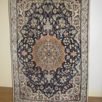 Stunning Wool and Silk Persian Rug, Nai'n rug, Semi Antique Fine and Handmade rug, hand woven rug