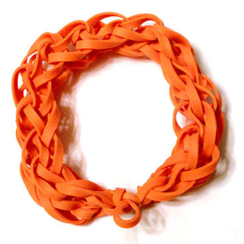 Orange Rubber Band Bracelet - Great Party Favor / Gift for Kids Teens and Adults - Latex Free