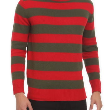 Red And Olive Green Striped Sweater | Hot Topic