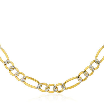 10K Yellow Gold 5.2mm Pave Figaro Chain 20-24inch