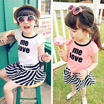 Fashion Baby kids Girls summer 2pcs clothing set Trendy 'Me Love'print  Forked short sleeve shirt Stripe Skirt outfits clothes