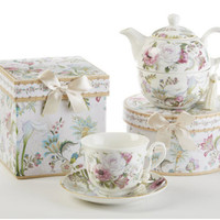 Gift Boxed Teacup and Saucer - Pale Rose