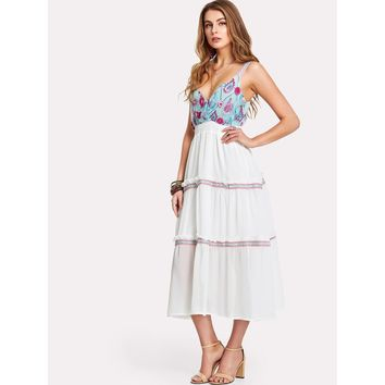 Embroidered Frilled Maxi Dress