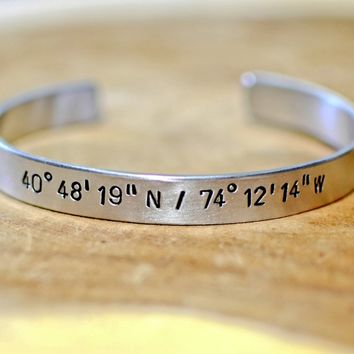 Personalized Latitude longitude Bracelet in Aluminum