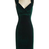 Lady Love Song Dress in Emerald Velvet