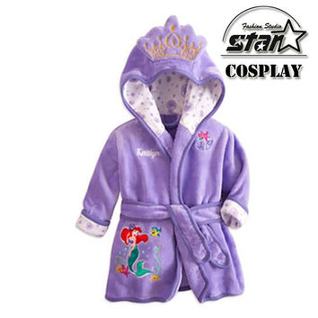 Children's Pajamas Robe Kids Princess Mermaid Mickey Minnie Bathrobes Homewear Boy Grls Flannel Embroidery Bathwear Sleepwear