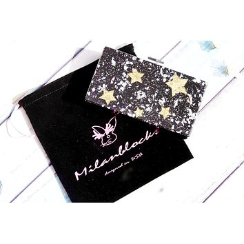 Black Glitter Star Box Acrylic Clutch-Milanblocks