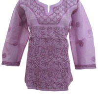 Indian Tunic Top Womens Kurta Embroidered Cotton Purple Boho Blouse