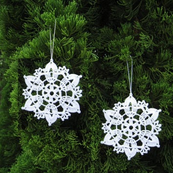 6 Crochet Snowflake Ornaments White Christmas Tree Decor Seasonal Decorations Tree Hanging