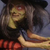 SALE ! SHADOWSCULPT HALLOWEEN witch flying on broomstick art doll sculpture wicca scary figurine