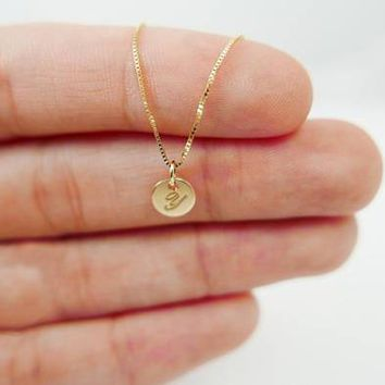 Very Tiny 14k gold necklace. Initial pendant. Letter charm necklace. Personalized necklace. monogram necklace. initial necklace.Gift ideas