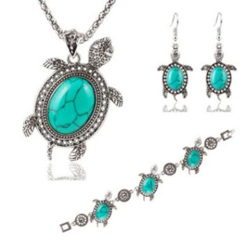 ONETOW Trendy little turtle metal three pieces of necklace earrings bracelet kit anti-allergy accessories