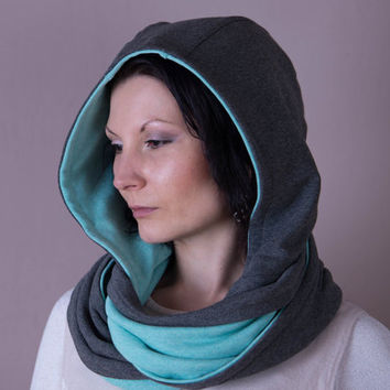 Scarf, Hooded Scarf, Hood Scarf, Reversible Hoodie,Hooded Cowl,Hooded Shawl,Scarves For Women,Grey,Mint Green,Fashion Accessories,Scarves