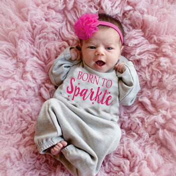 Born to Sparkle Baby Gown Gray and Fuchsia Sparkle Glitter Outfit for baby girls