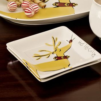 GRAPHIC RUDOLPH® APPETIZER PLATE, SET OF 4