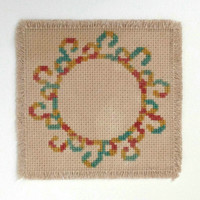 Beverage  coaster with variegated wreath Fabric drink coaster Embroidered coaster Aida cloth coaster Pre-Dyed with real black tea