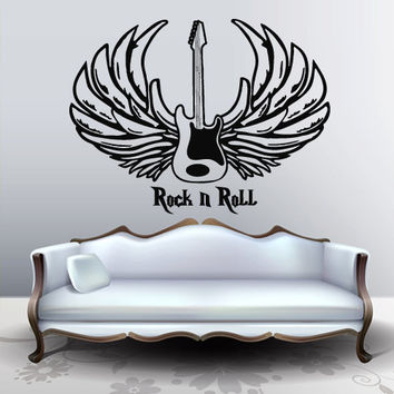 Wall decal art decor decals sticker music guitar rock n roll wings blues jazz note cassette audio tools (m839)