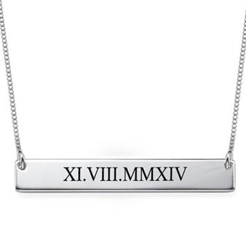 Roman Numeral Bar Necklace - Silver