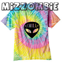 ALIEN  Tshirt Tie dye unisex groovy chill out men women teen