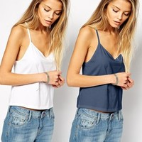 ASOS Cropped Cami Top with V Neck 2 Pack Save 20%