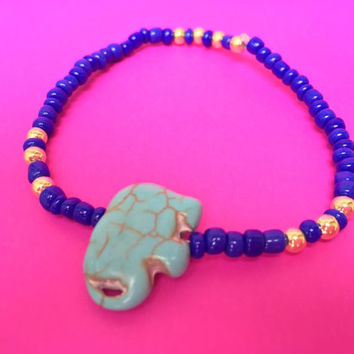 SHIPS FREE - Blue and Gold Elephant Beaded Bracelet - perfect gift idea for any occasion