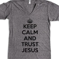 Keep Calm and Trust Jesus-Unisex Athletic Grey T-Shirt