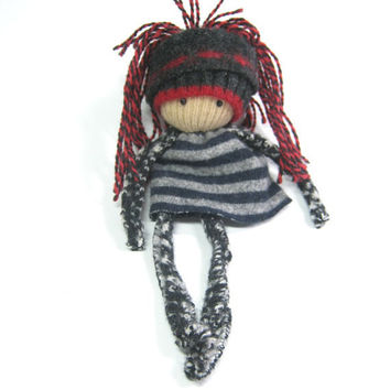 Rag doll Eco friendly toy OOAK Scrap dolly by HereAtSmallGoods