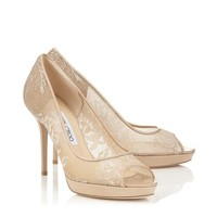 Nude Lace and Patent Peep Toe Pumps | Luna | Pre Fall 14 | JIMMY CHOO Shoes