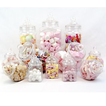 10 pc Candy Buffet Jars Pick and Mix Candy Table Ideas for Wedding Kids Party