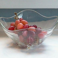 Vintage Glass Footed Candy, Nut or Serving Dish