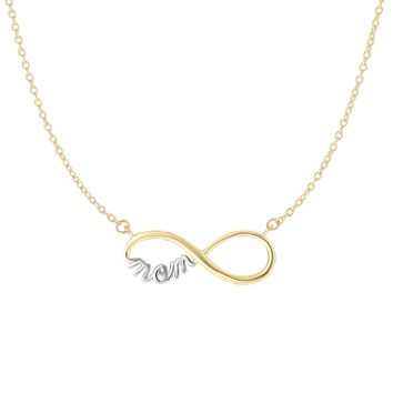 14K 17Ext.Yellow-White Gold 8.8x23.2mm Shiny Yellow Infinity with White Mom Anchored On 1.05m m Cable Link Necklace with Lobster Clasp