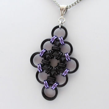 Black and purple chainmaille Japanese diamond pendant