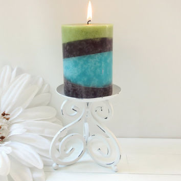 Metal Candle Holder / Candle Holder / Pillar Candle Holder / Table Candle Holder / White Home Decor / Housewarming Gift / Home Accessories