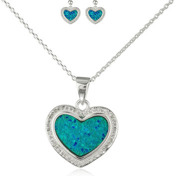 925 Sterling Silver Heart Opal Necklace with Matching Stud Earrings Jewelry Set (Turquoise)