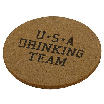 4th of July USA Drinking Team Round Cork Coaster (Set of 4)