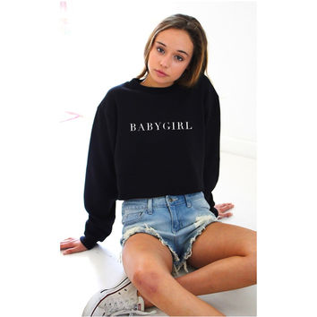BABYGIRL Black Hoody Sweatshirts Hoodies Casual Sweatshirts Long Sleeve Crew Neck Tops