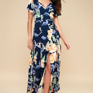 Heart of Marigold Navy Blue Tropical Print Wrap Maxi Dress