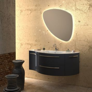 Ambra 52 in. Wall Vanity Left Concave Right Round Cabinet Set Bath Furniture
