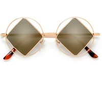 Unique Hippie Indie Retro Vintage Circular Rim with Diamond Shaped Lenses Sunglasses (Amber)