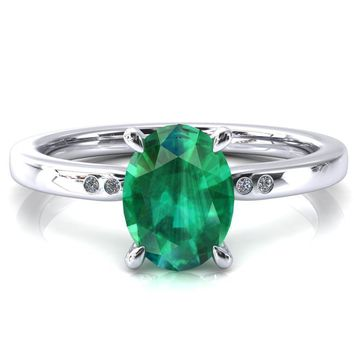 Maise Oval Emerald 4 Prong Diamond Accent Engagement Ring