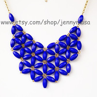Royal Blue Jewelry- Daisy Necklace , Tessellate Necklace, Bubble Bib statement necklace, Party Necklace, wedding necklace