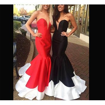 Cheap Black Red Formal Evening Gown 2017 Sweetheart Sweep Train Long Mermaid Evening Dress Prom Dresses robe de soiree