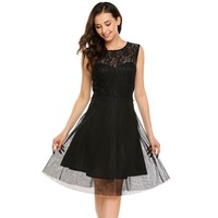 Black Collar Sleeveless Cocktail Dress