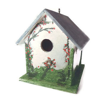 Hand Painted Wood Birdhouse With Garden Theme
